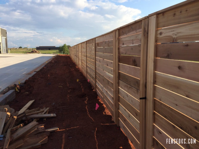 Commercial Cedar Fence in Edmond Oklahoma