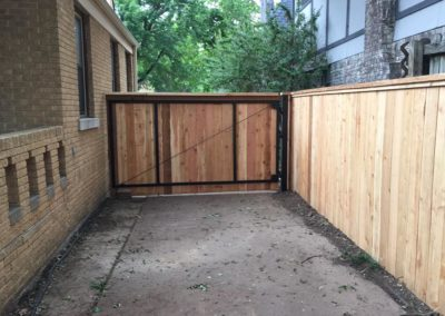 Large 6' cedar gate with steel reinforced EZ Brace and cap and trim