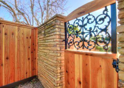 cedar fence with custom gate