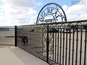 Custom Ornamental Iron Double Drive Commercial Gate installed by Fence OKC in Moore, Oklahoma Picture 2