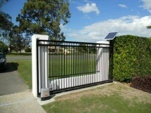 automatic sliding driveway gate in the open position.