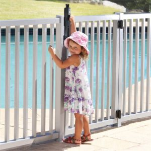 Pool gates with self closing hinges and Magnalatch systems help keep kids safe.