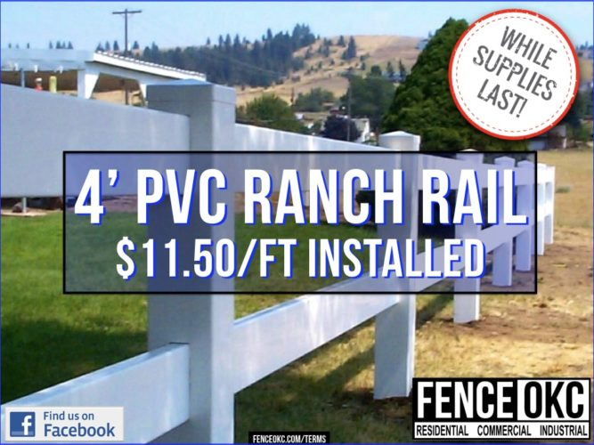 4' PVC ranch rail fence april special