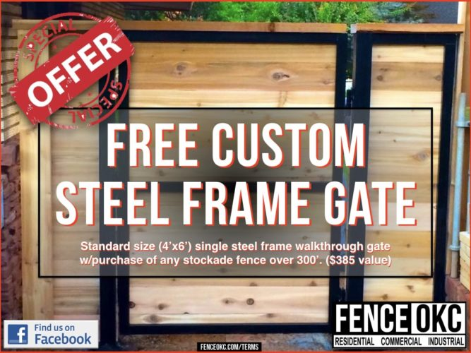 4' free steel frame gate offer fence okc